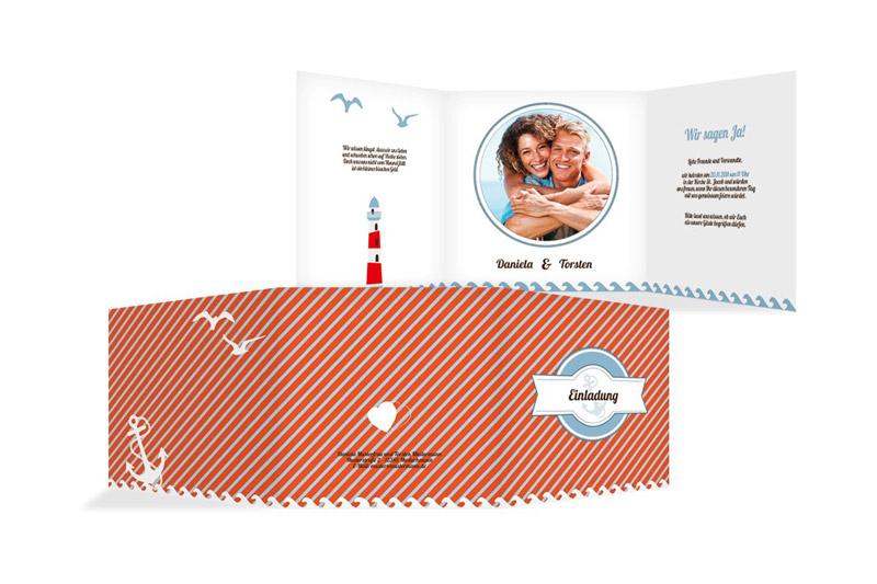 Individualisierbare Hochzeitskarten mit maritimen Hochzeitsmotto