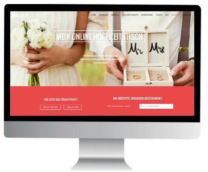 Online Hochzeitstisch Homepage